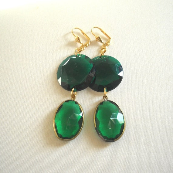 Chandelier Emerald Green Statement  Earrings