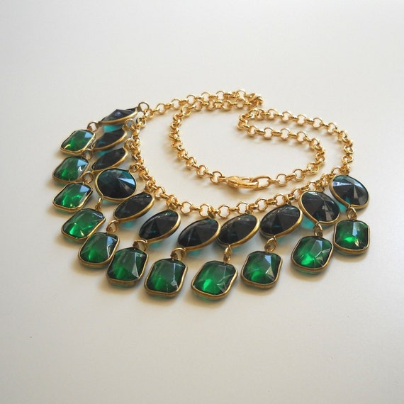 Emerald Green Lucite Crystal Statement necklace