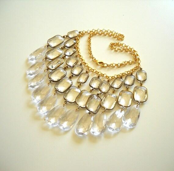 Lucite Crystal Statement Necklace, Icy Transparent Chandelier, Bridal, Wedding