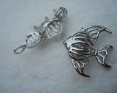 Tropical Fish Angel Fish Cage/ Captive Bead Fillable Locket- two pieces