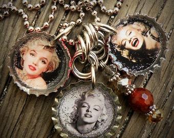 Marilyn Monroe Themed Bottle Cap Necklace