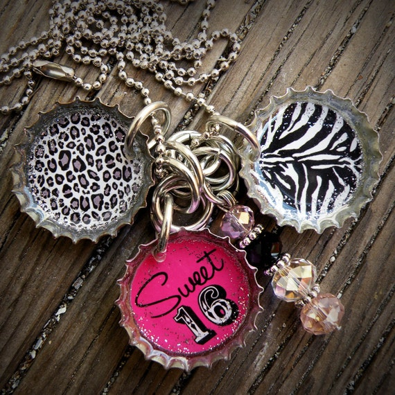 Sweet 16 Themed Pink Bottle Cap Necklace
