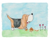 limited edition izzy the dog picks a flower print