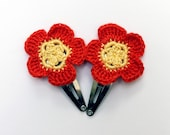 Pair of Flower Hair Bow / Flower Hair Clip Red/Yellow Spring fashion