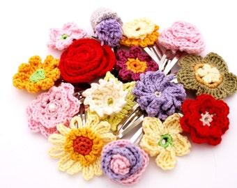 Pair of Crochet Hair Clips/ Crochet Hair Bow - Cotton - Crochet Flowers