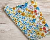12 (for the price of 10) Organic Reversible Cloth Napkins. Blue Bird and Poppies Collection.