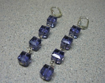 Amethyst Swarovski Box Crystal  Dangle Earrings