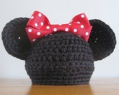 Minnie Mouse Hat with Red Bow