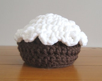 Chocolate Cupcake Cap with White Icing