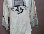 Vintage Black and White Hand Painted Ethnic Tribal Top with Bone Detail