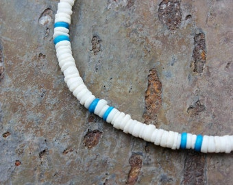 Shell Necklace: ROUND White Litub Shells with Dyed Bone Beads - Choice of Blue or Purple