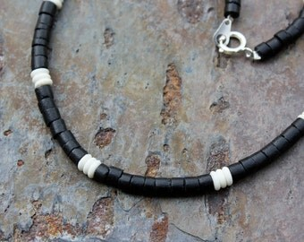 Necklace: Coconut Beads with Bone Beads (Black or Brown)