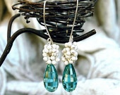 Aqua Blue Quartz Dangle Earrings / Gemstone Teardrop / Sterling Silver / Wire Wrapped / Step Faceted / Caribbean Blue / Gifts For Her / OOAK