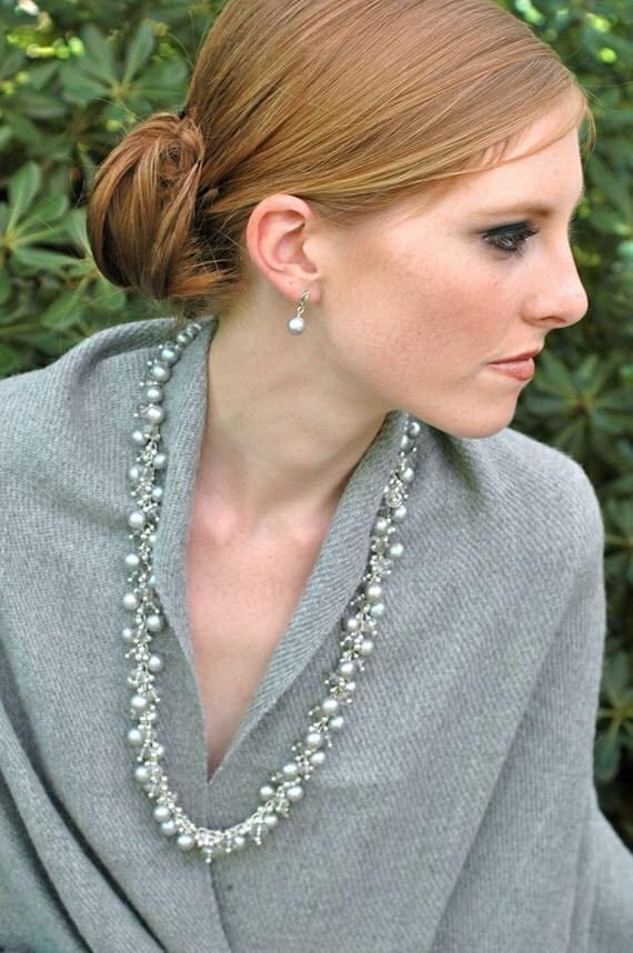 Elegant Silver Topaz Necklace / Freshwater Pearls / Gemstone Necklace / Sterling Silver / Elegant Jewelry / Statement Clasp / Bridal / OOAK
