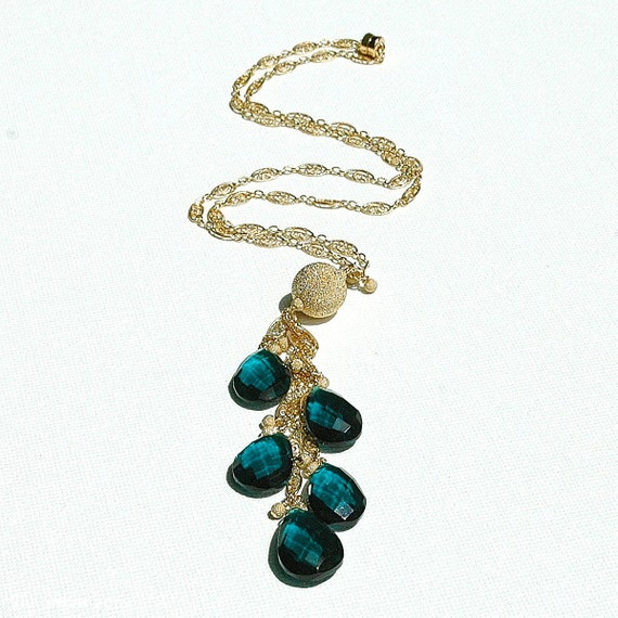 Christmas in July Sale - Peacock Blue Quartz Gold Tassel Necklace