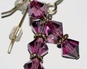 Dark Purple Swarovski Earrings (6mm crystals)