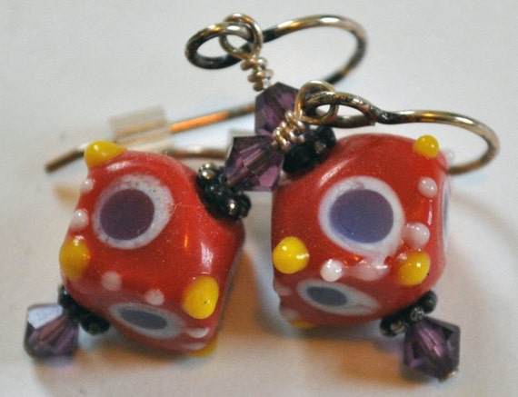 Red Purple Yellow White Polka Dots Square Lampworked Glass Dangle Earrings Swarovski Crystals Sterling Silver Daisy Bali Beads - Destash