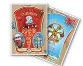 Vintage Toys Invitation in Circus Retro Style
