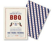BBQ Invitations, Patriotic Vintage July 4th, Memorial Day, Welcome Home Troops