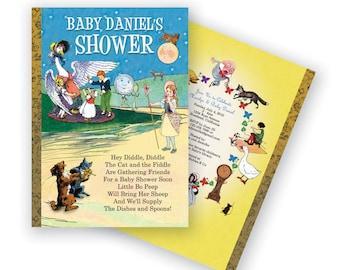 Mother Goose Invitation, Nursery Rhyme Invitation for Baby Showers or Birthdays