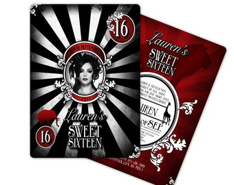 DIGITAL, Printable, DIY Vintage Goth Circus Invitations for Sweet Sixteen, Birthday or Quince