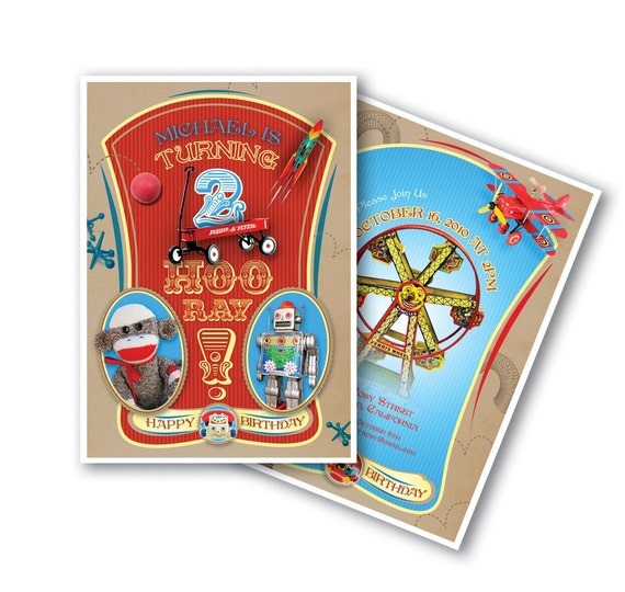 Vintage Toys Invitation in Circus Retro Style