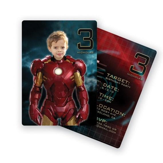Iron Man Birthday Party Personalized Custom Invitation With