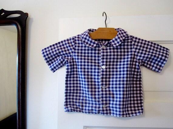 Kid's Button Down Shirt, Vintage Child's Dress Shirt,  Purple Gingham, size 3/4