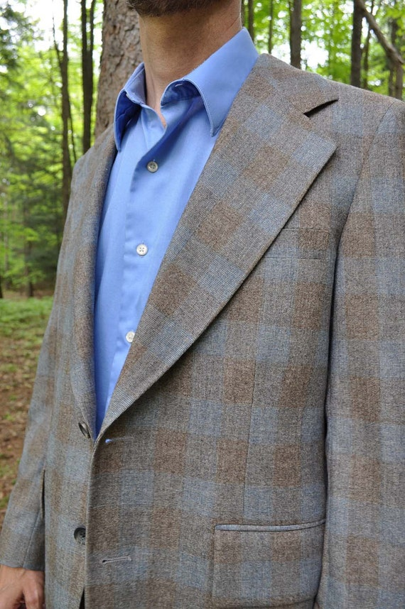 1950s Mad Men plaid wool sports coat blue and grey