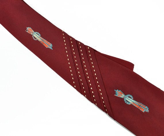 50s painted red tie