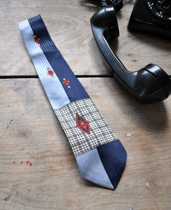 1950s two-toned blue tie