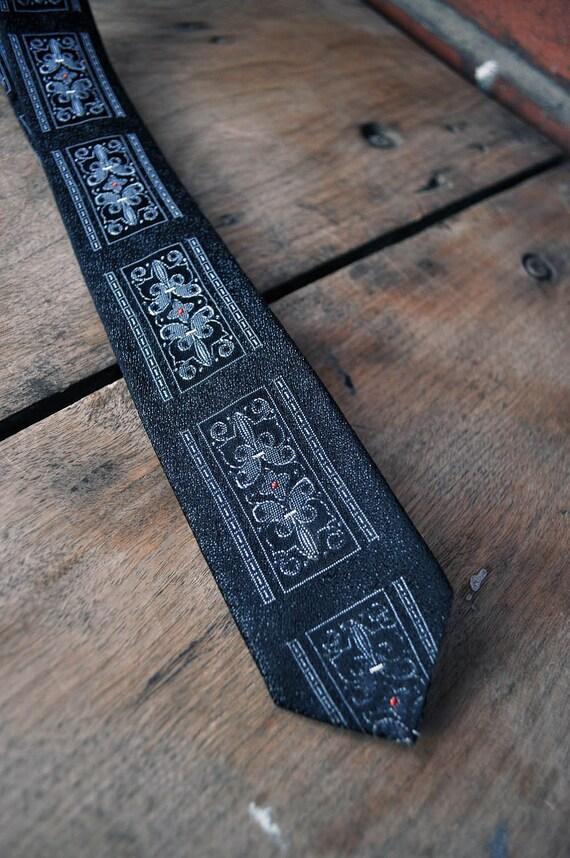 Mid century brocade tie dark grey