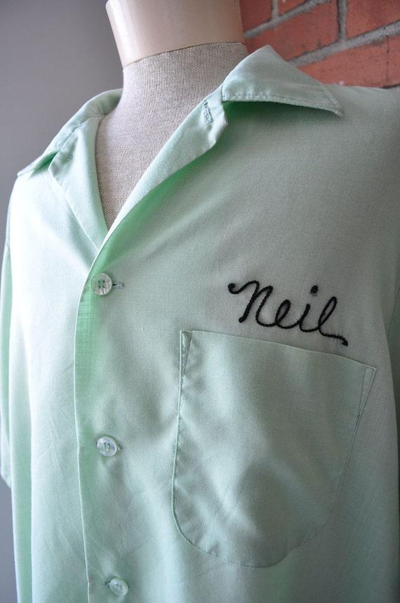 1950s mint green mens bowling shirt ML