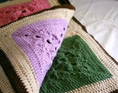 Granny square afghan crochet colorful navy blue brown tan pink orchid purple dark light green burgundy red white blanket block