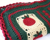Apples afghan throw crochet granny square lap coverlet blanket fall autumn for teacher handmade washable home decor winter harvest