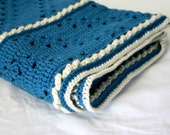 Blue Afghan crocheted blanket soft warm winter lap throw gorgeous ocean handmade washable home decor