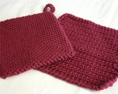 Pot holder and dish cloth set crocheted dark raspberry red purple wash cloth burbundy wine home decor thick stretchy
