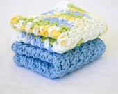 Crocheted cotton dishcloths blue white yellow green set of 2 variegated eco-friendly cleaning square functional washing scrubbers summer duo