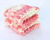 Crocheted cotton dishcloths pink white set of 2 variegated eco-friendly cleaning square functional washing scrubbers summer duo