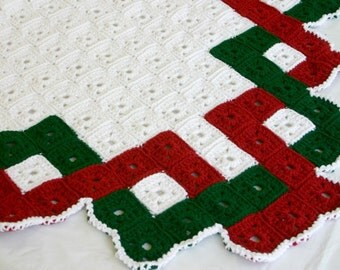 Christmas afghan granny square crochet lap blanket traditional quilt style blanket throw coverlet beautiful red white green home decor