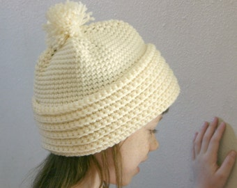 Crochet adult hat off white cream neutral with or without pom-pom warm handmade winter head covering
