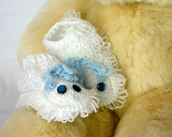 Lamb Baby Booties crocheted White and Blue shower gift 6 months infant loopy sheep footwear washable shoes cute