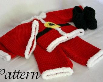 Infant Santa suit PDF crochet PATTERN 0-3 month size newborn boy baby Christmas costume photography prop winter december festive holiday