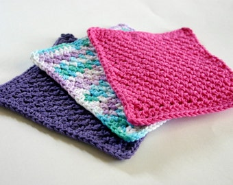 Crocheted cotton dishcloths pink purple blue white green set of 3 bright square functional eco-friendly washing scrubbers summer trio