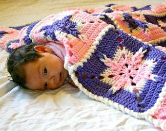 Baby girl afghan granny square blanket pink purple white crochet shower gift little home decor nursery crib blanket throw starburst