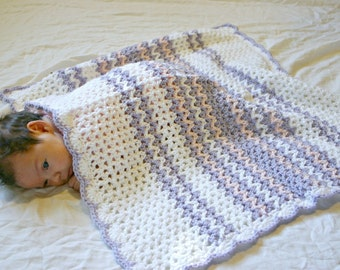 Baby stroller afghan purple pink and white crocheted soft throw v-stitch car seat blanket infant girl coverlet pretty lavender