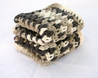Crocheted cotton dishcloths brown white set of 2 light dark cream eco-friendly cleaning square functional washing scrubbers summer duo