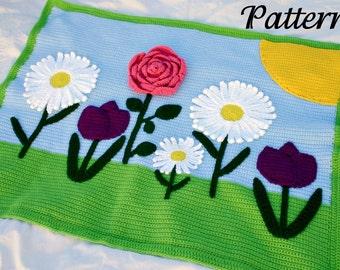 Flowers afghan crochet PDF PATTERN throw blanket scene spring daisy tulip rose sun green pink purple blue white yellow pretty
