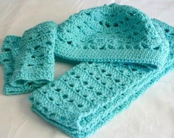 Hat scarf and fingerless gloves PDF Crochet PATTERN Adult women set beret winter neckwarmer head covering fashion warm neckwear