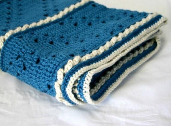 Blue Afghan crocheted blanket soft warm winter lap throw gorgeous ocean handmade washable home decor